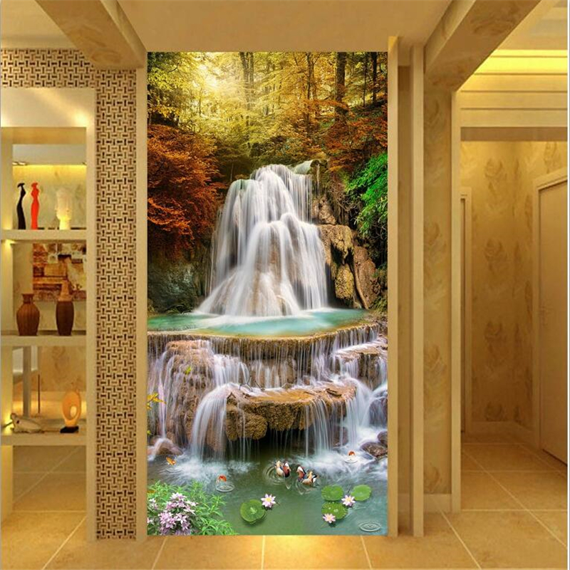 beibehang Custom Photo Wallpaper Mural 3d papel de parede Gold Maple Leaf Forest Waterfall Portal Wall Background 3d wallpaper custom 3d photo wallpaper waterfall landscape mural wall painting papel de parede living room desktop wallpaper walls 3d modern