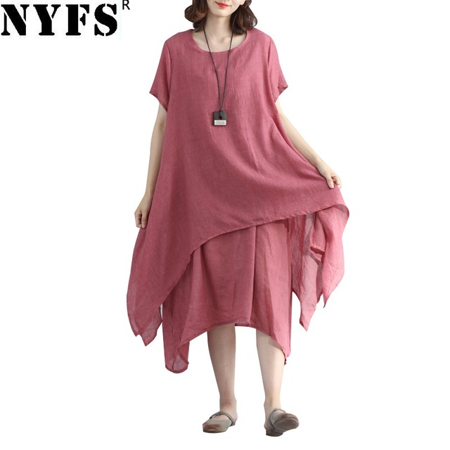 2ffd0b43ad8 2018 New Summer dress Cotton Linen Ladies Casual Women Dresses Irregular  printing Fake two piece long