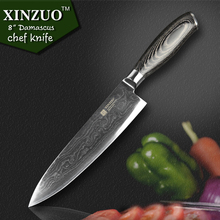 2016 XINZUO 8″inch chef knives high quality fashion Japanese VG10 Damascus steel kitchen knife with Micarta handle Free shipping