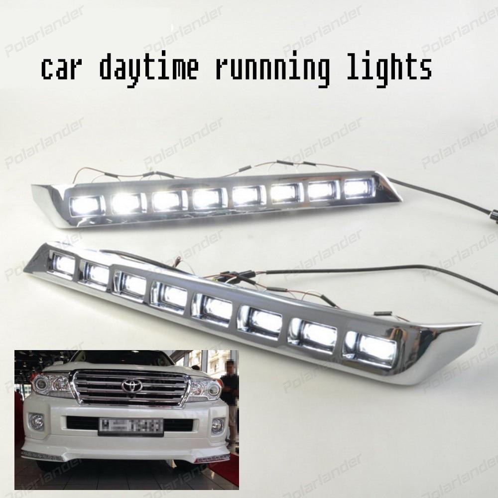 2 pcs bright Car styling For T/oyota L/ANDCRUISER LED DRL F/J200 LC200 fog cover daytime running lights 2012-2015 led fog lamps