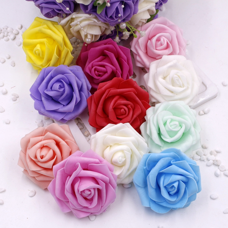 High Quality 100pcs/Lot 6cm Foam Rose Heads Artificial Artificial Flower Heads Bouquet Wedding Decoration Festive & Party