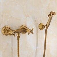 Смесители для биде европейские антикварные резные латунь Ванная комната Душ Туалет настенный двойной ручкой холодной и горячей воды смеси