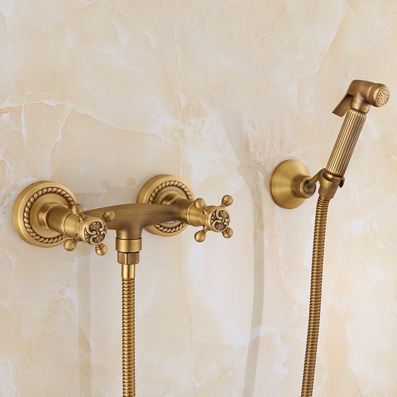Bidet Faucets European Antique Carved Brass Bathroom Toilet Shower Wall Mounted Double Handle Cold and Hot Water Mixer TapYD-987 smart thermostatic bidet mixer spray shower set faucets bathroom hot cold water hand held toilet bidet spray gun chrome in wall
