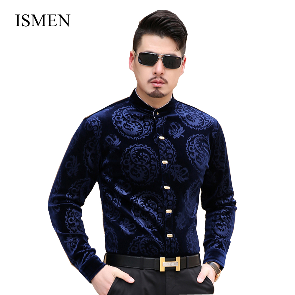 Kuyomens Men Shirts Stand Collar Long Sleeve Velvet Dress