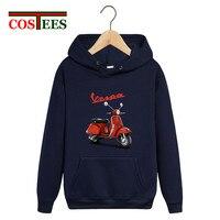 Vespa logo Piaggio print hoodies men 2018 Vespa motorcycle scooter sweatshirt pullover coats hombre camiseta fleece pocket hoody