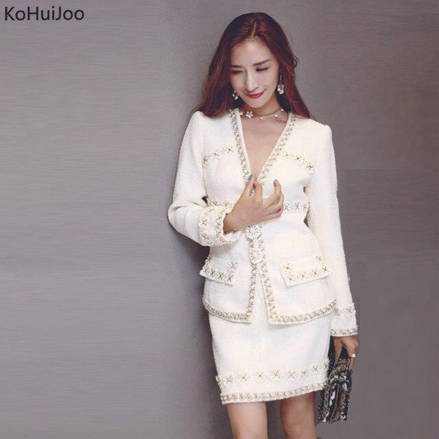 4607a8355aba KoHuiJoo осень зима Женская юбка костюм 2 шт. бисером шерсть твид куртка +  юбка наборы