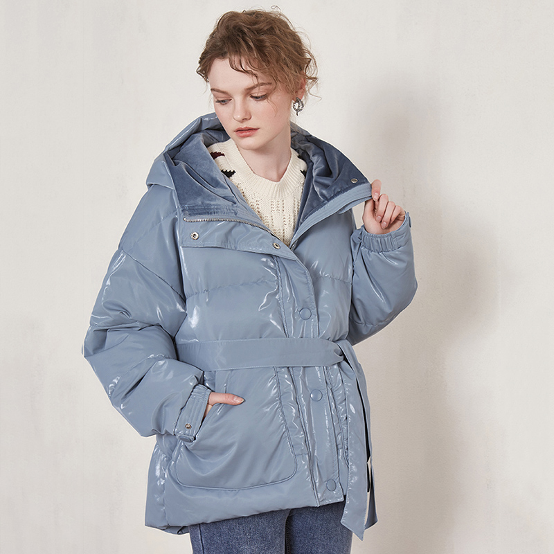 Winter White Duck   Down   Jacket Women Hooded   Down     Coat   Female Outwear With Belt 2019 New Arrival Patent Leather Glossy   Down   Parka
