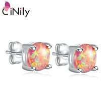 CiNily Timeless Orange Yellow Fire Opal Stone Stud Earrings Silver Plated Mini Round Ball Bohemia Boho Jewelry Gifts Woman Girl(China)