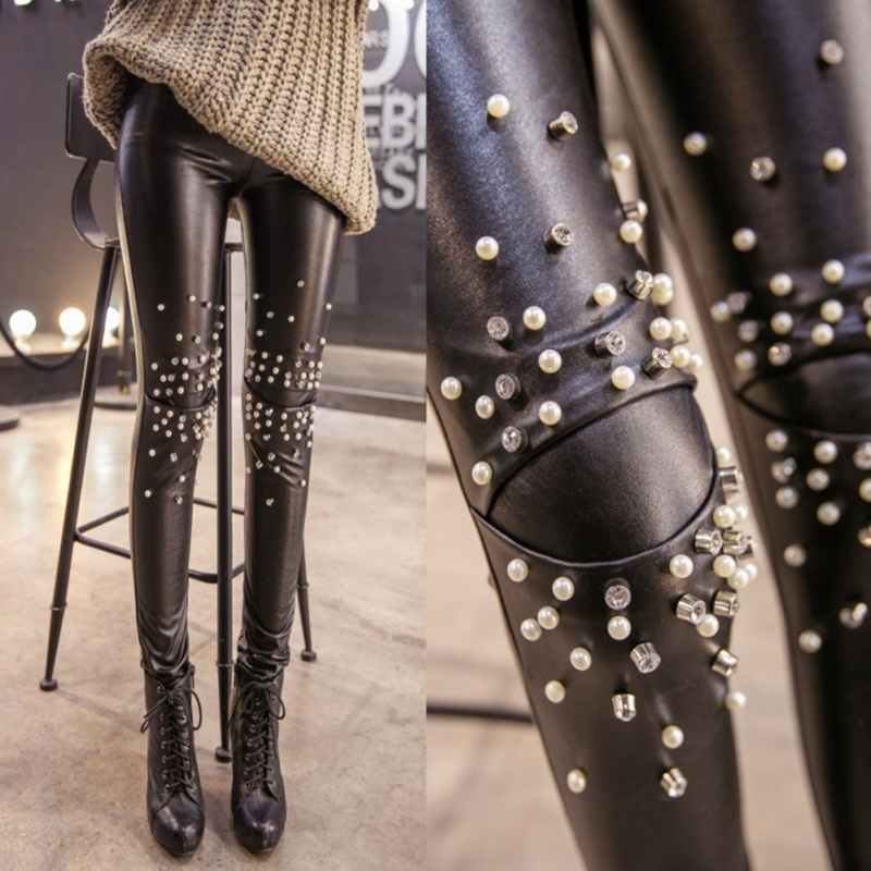 Women winter new Korean Slim thin rivet leather pants plus thick and velvet warm female pants women slim wild pants S2474