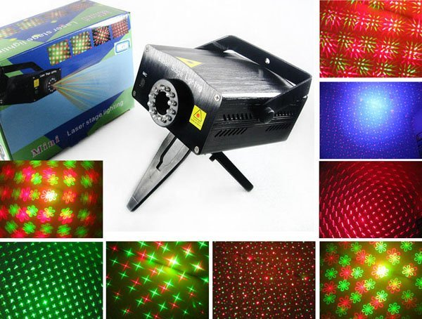 Mini Green+Red Laser DJ Party Stage Lighting with Sound Mode Star Projector Show Special Effects and 12 LED lights 110V~240V AC
