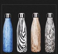 2 sztuk nowy przyjeżdża Ze Stee butelka 500 ml Kręgle sport Butelka wody Butelka Próżniowa filiżanka Kawy Wood Grain Puchar boże narodzenie prezent
