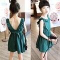 Elegância Backless Ruffles vestido de Meninas Sem Mangas Vestidos de Princesa de Conto de fadas de verão Baby Girl Roupas Sets CC0025
