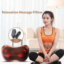 FOUAVRTEL Neck Massage Relaxation Car Massage Pillow Vibrator Electric Shoulder Back Heating Kneading Infrared therapy shiatsu electric infrared heating kneading neck shoulder back body spa massage pillow car chair shiatsu massager masaj device