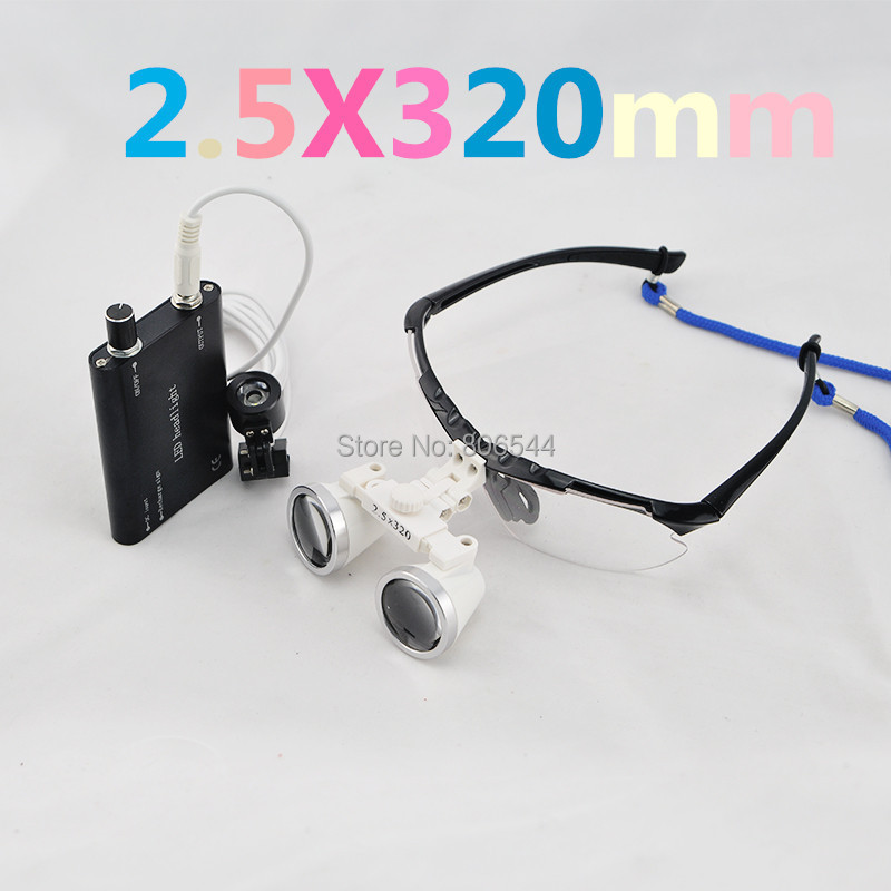 2.5x Black Dental Surgical Binocular Loupes + LED Dental Head Light lamp 188043-01