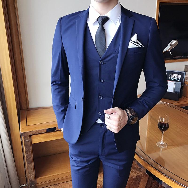 Blazers Pants Vest 3 Pieces Sets / 2018 fashion new mens casual boutique business wedding groom suit jacket trousers waistcoat ...