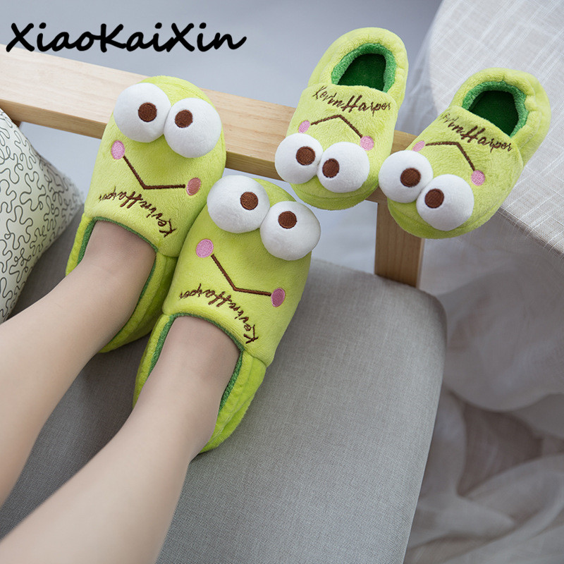 New Winter Indoor Slippers Cotton Home Shoes Cartoon Frog Slippers for Grown Ups Unisex Childrens Warm Home Slippers Shoes gifts