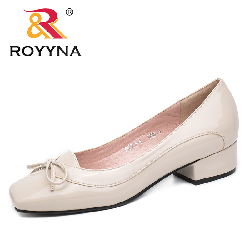 Image 2 - ROYYNA New Arrival Fashion Style Women Pumps Butterfly Knot Women Dress Shoes Square Toe Women Office Shoes Shallow Lady Shoes-in Women's Pumps from Shoes
