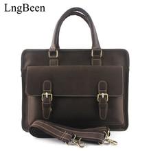 Genuine Leather Coffee Men Briefcase Crazy Horse Laptop Business Bag Cowhide Men's Messenger Bags Luxury Lawyer Handbags LB1138