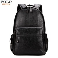 VICUNA POLO Preppy Style Solid College Student Backpack Casual Men Back Pack High Quality Brand Men
