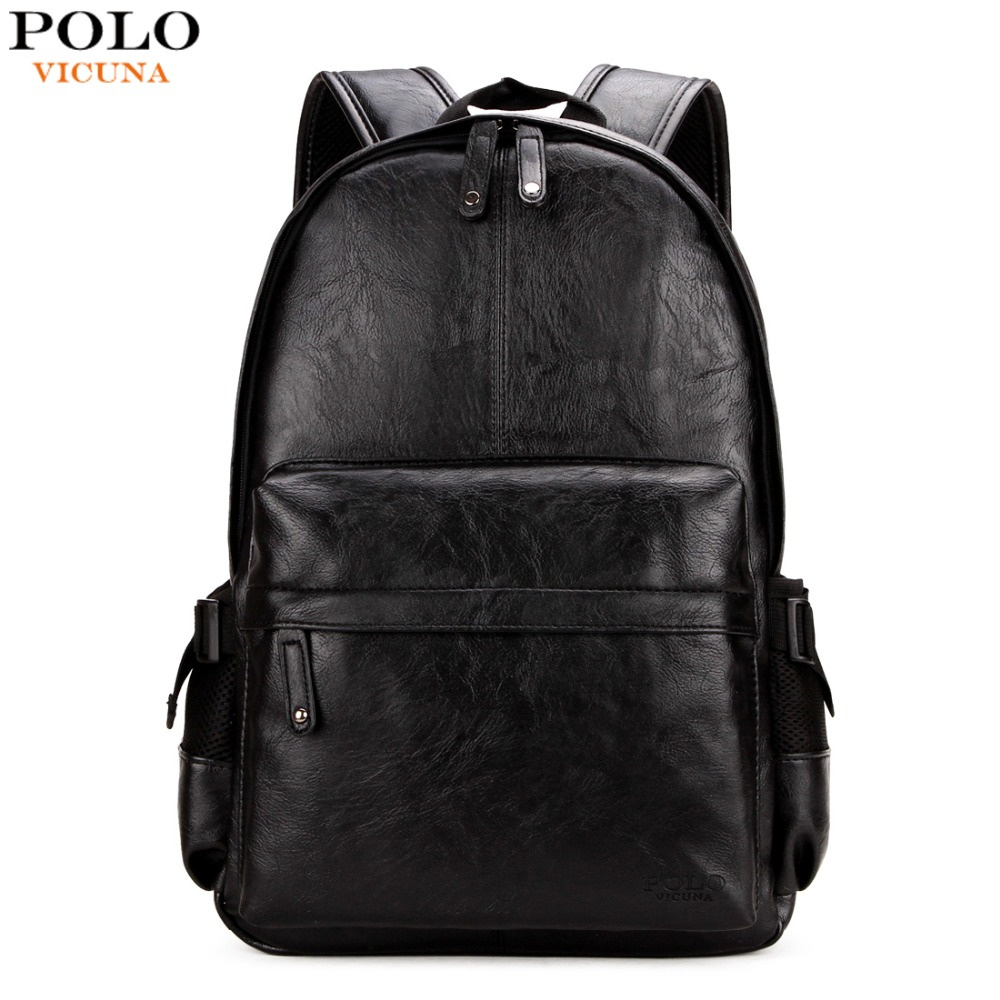 VICUNA POLO Preppy Style Solid College Student Backpack Casual Men Back Pack High Quality Brand Men Leather Book Bag For School high quality fashion rock band backpack for teenage women men casual daypack college student preppy school backpack travel bags