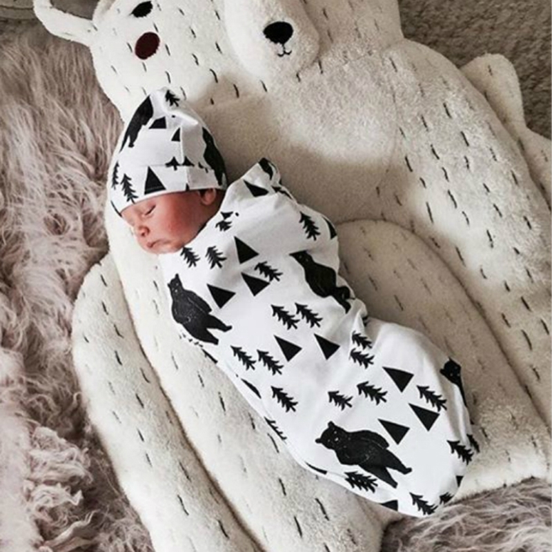 NEW Baby Swaddle Blanket +Cap Newborn Cocoon Wrap Cotton Swaddling Bag Sack Bedding Baby Sleeping Bag