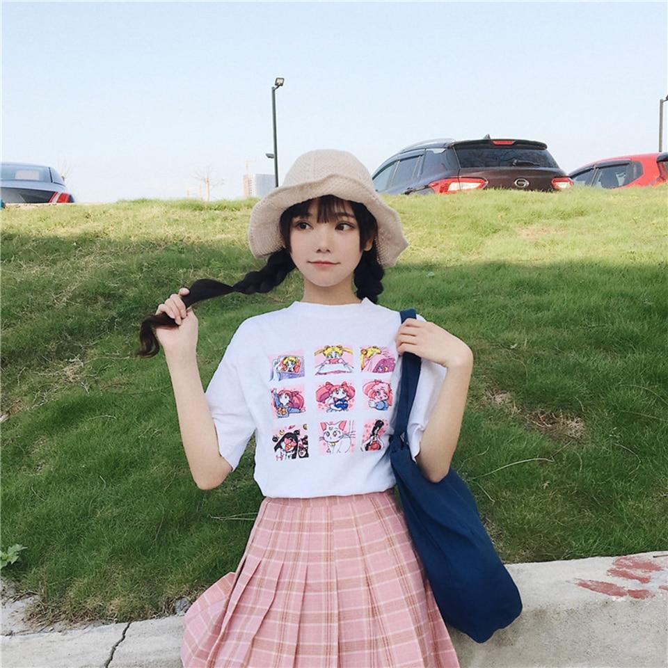 Women   T     shirts   Summer 2019 Sailor Moon Print Short Sleeve   T  -  Shirts   Harajuku Plus Size Round Collar Casual Base Tops