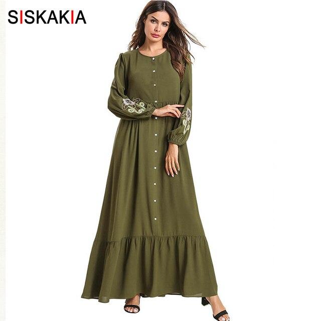 Siskakia אלגנטי הנקה ארוך שמלה אחת חזה עגול צוואר Swing מקסי שמלות ארוך שרוול ראפלס נדנדה רקום