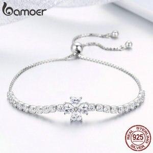 Image 4 - Bamoer Echt 925 Sterling Zilveren Shining Clover Flower Chain Armbanden Voor Vrouwen Clear Cz Mode Zilveren Sieraden BSB007