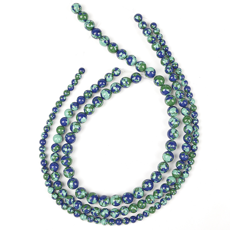 Combination  of  Dark  Green and  Light  Green  Add  Blue-black  Beads  6/8/10 MM  Made  smooth  Bluish Gold  Loose beads