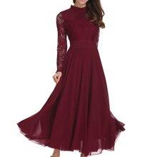 Fashion Women Chiffon Dress Long Lace Sleeve Vestidos Wedding Sumner Spring Chic Style Slim Wine Red Plus Size