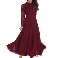 Fashion Women Chiffon Dress Long Lace Sleeve Vestidos Wedding Sumner Spring Long Dress Chic Style Slim Wine Red Plus Size