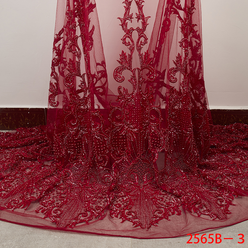 Lastest Red Handmade Lace Fabric High Quality Tulle Lace Fabric with Beads Embroidered African French Lace for Wedding APW2565BLastest Red Handmade Lace Fabric High Quality Tulle Lace Fabric with Beads Embroidered African French Lace for Wedding APW2565B