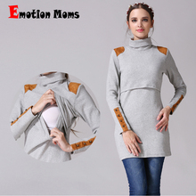 Emotion Moms New Turtleneck Maternity dresses Nursing dress Pregnant Women жүктілік көйлектерін емізу