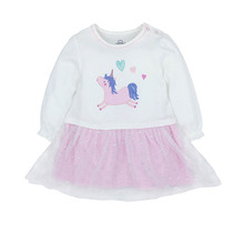 Tender Babies Baby Girl Clothing Cute dress with unicorn embroidery to front tu glitter spot