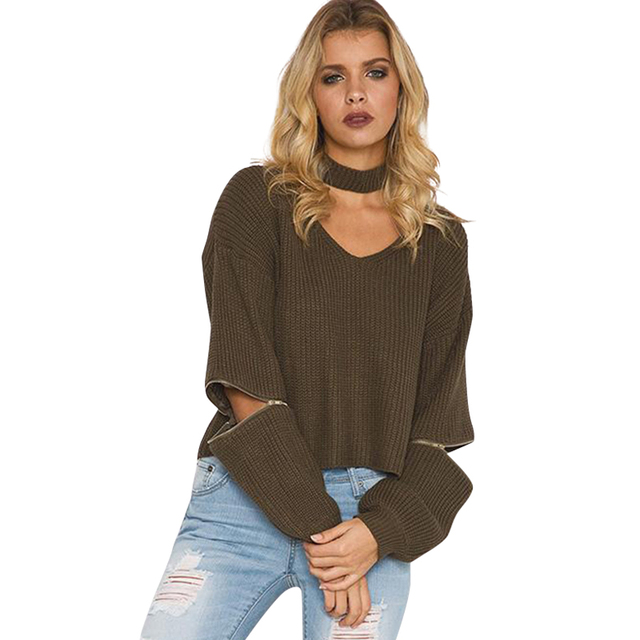 Women Knitted Sweaters Long Sleeve Sexy Hollow Out Women Sweaters Autumn Halter Tops Plus Size LJ5623M