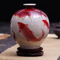 Jingdezhen Ceramic Pomegranate Vase Archaize Kiln Borneol Crackle Fish Classic Home Antique Vase