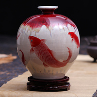 Jingdezhen Ceramic Pomegranate Vase Archaize Kiln Borneol Crackle Fish Classic Home Antique Vase