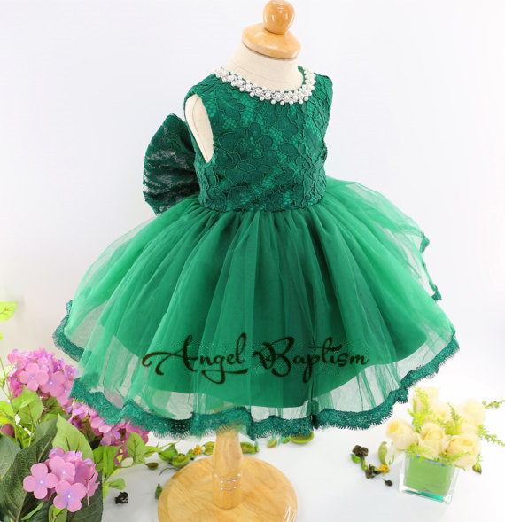 цены Green toddler pageant dress with bow lace appliques crew neck crystals tulle ball gown formal baby first birthday party dresses