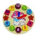 12 cores 3D puzzle brinquedos de madeira crianças brinquedos educativos para crianças com geometria Relógio digital dos desenhos animados do bebê menina e menino brinquedo