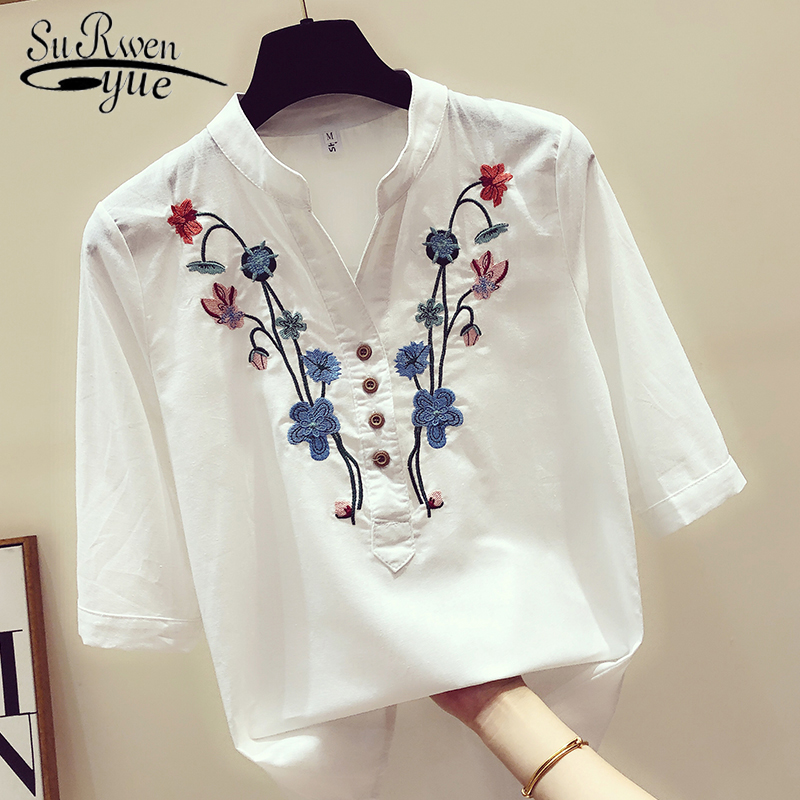 Womens Tops And Blouses Women Shirts White Blouse Plus Size Women Embroidery V-Neck Women Shirts 2019 Summer New 3140 50
