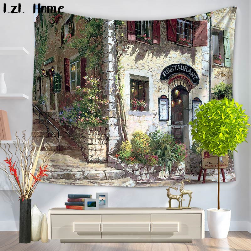 LzL Home Fancy Graceful Seaside Town Tapestry Home Decor Oil Painting Classical Architecture Corner Shop Wall Hanging Bedspread