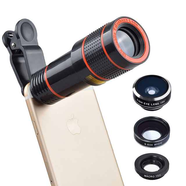 Universal 6 in 1 tripod 12X Zoom Telescope Fisheye Wide Angel Macro Lens For iPhone 6 7 Samsung S8 S7 android smartphone 12DG3 2