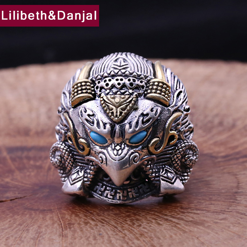 Men Women Opening Ring 925 Sterling Silver Jewelry Inlaid Turquoise Eagle Hyperbole Adjustable Ring Fine Jewelry 2018 FR71