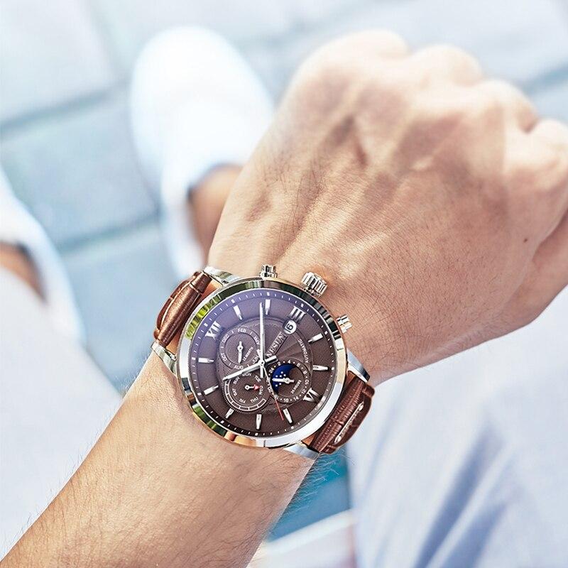 NESUN Men Fashion Business Automatic Mechanical Wristwatches Sapphire Waterproof Military Sports Watches Clock Relogio Masculino guanqin watches men relogio masculino mechanical watches men full stell waterproof business wristwatches men s watches clock
