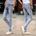 2016 Fashion Men Jeans Summer Casual Ankle-Length Pencil Denim Pants New Brand Clothing Male Hip Hop Trousers Light Blue 8126