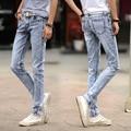 2016 Fashion Men Jeans Summer Casual Ankle-Length Pencil Denim Pants New Brand Clothing Male Hip Hop Trousers Light Blue 8126