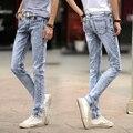 2016 Hombres Jeans De Moda de Verano Casual Tobillo-Longitud pantalones de Mezclilla Lápiz Pantalones Nueva Marca de Ropa Masculina Pantalones de Hip Hop Luz azul 8126