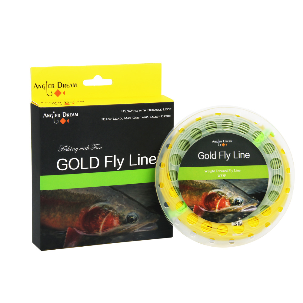Angler Dream 2-9WT Weight Forward Floating Fly Fishing Line With Two Welded Loops , 100FT Gold Fly Line With Line Spool maximumcatch 100ft wf4 5 6 7 8f switch fly fishing line weight forward floating fly line with two welded loops fishing line