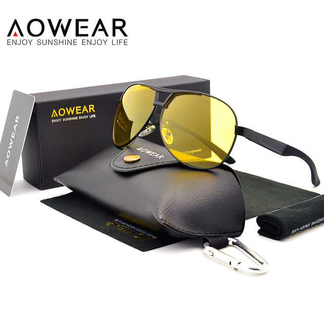 9702f2e6d14 AOWEAR HD Night Vision Glasses Men Polarized Yellow Lens Goggles Driving  Sunglasses Fashion Top Quality Eyewear