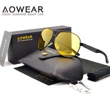 Aowear HD ночного видения очки Мужчины поляризованный желтые линзы очки вождения солнцезащитные очки Модный Топ качество очки Óculos мужской